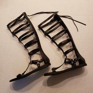 Aldo Gladiator Knee High Full Zip Sandals Black